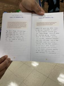 rs. Johnson sharing an example of a students' gratitude journal.