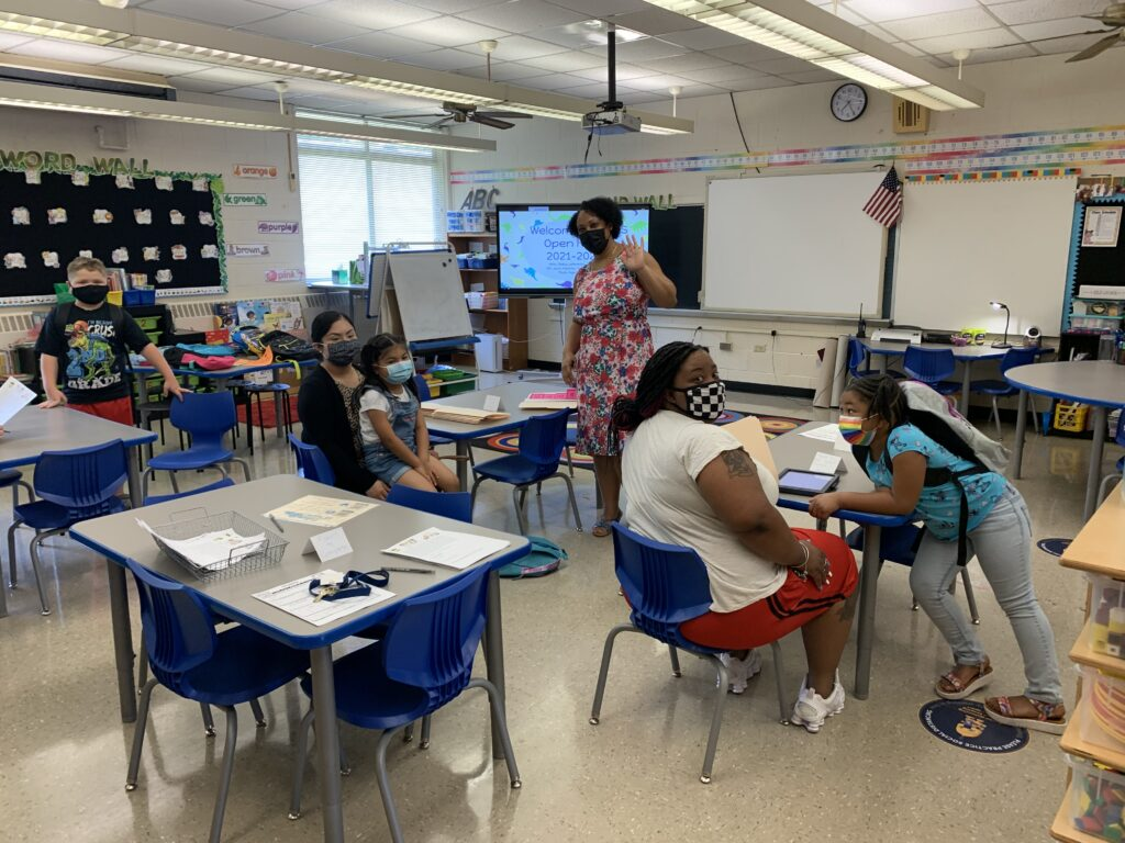 Mrs. Johnson shared with parents important information during Open House.