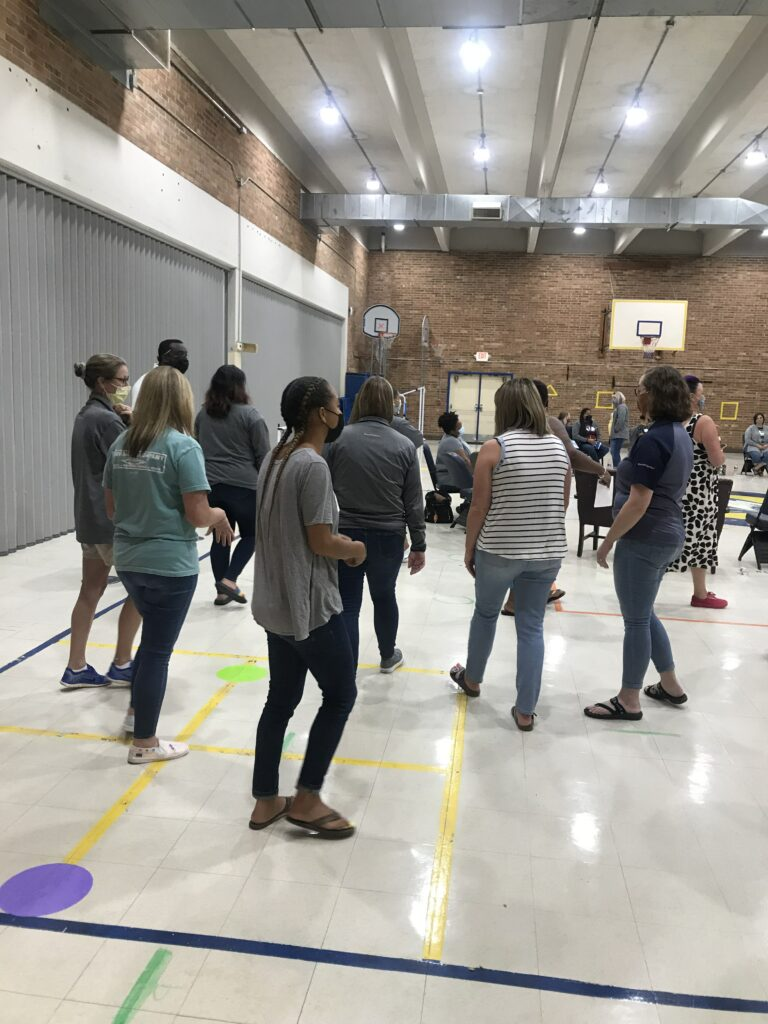 Movement activities were utilized to illustrate the restorative practices.