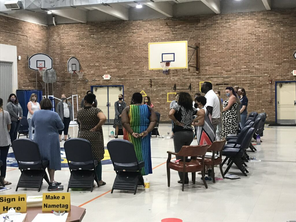 A ball was utilized to provide the chance for everyone to have a voice. The ball was passed around, and when someone was holding the ball, they had the floor to speak.
