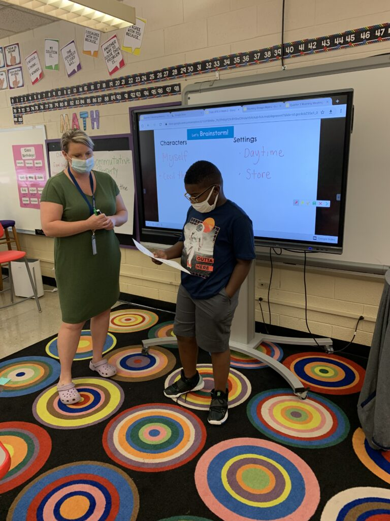 Students came up to share their ideas with the whole class.